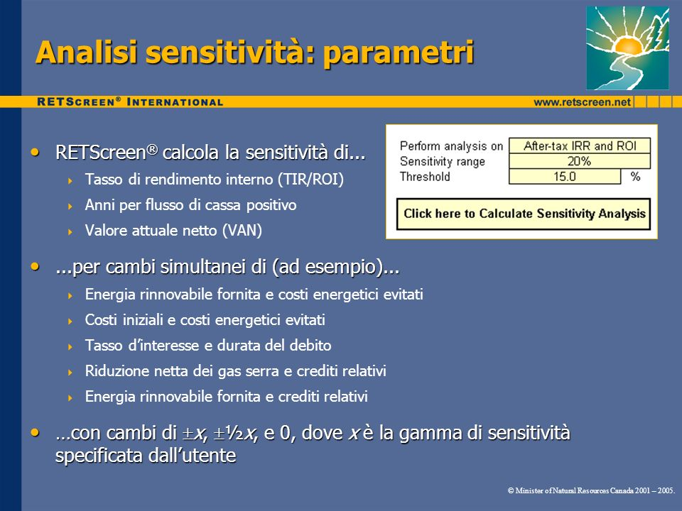 Analisi sensitività: parametri