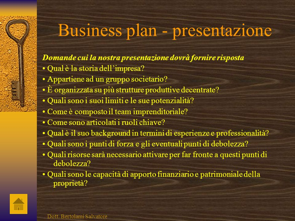 Business plan - presentazione