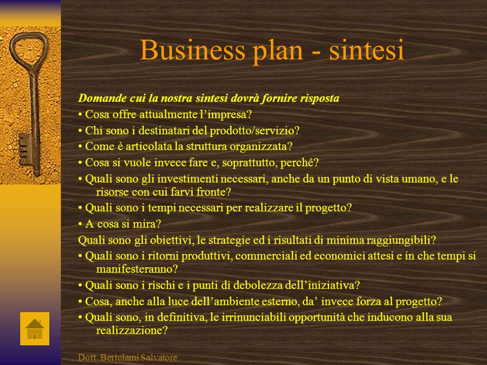 Business plan - sintesi