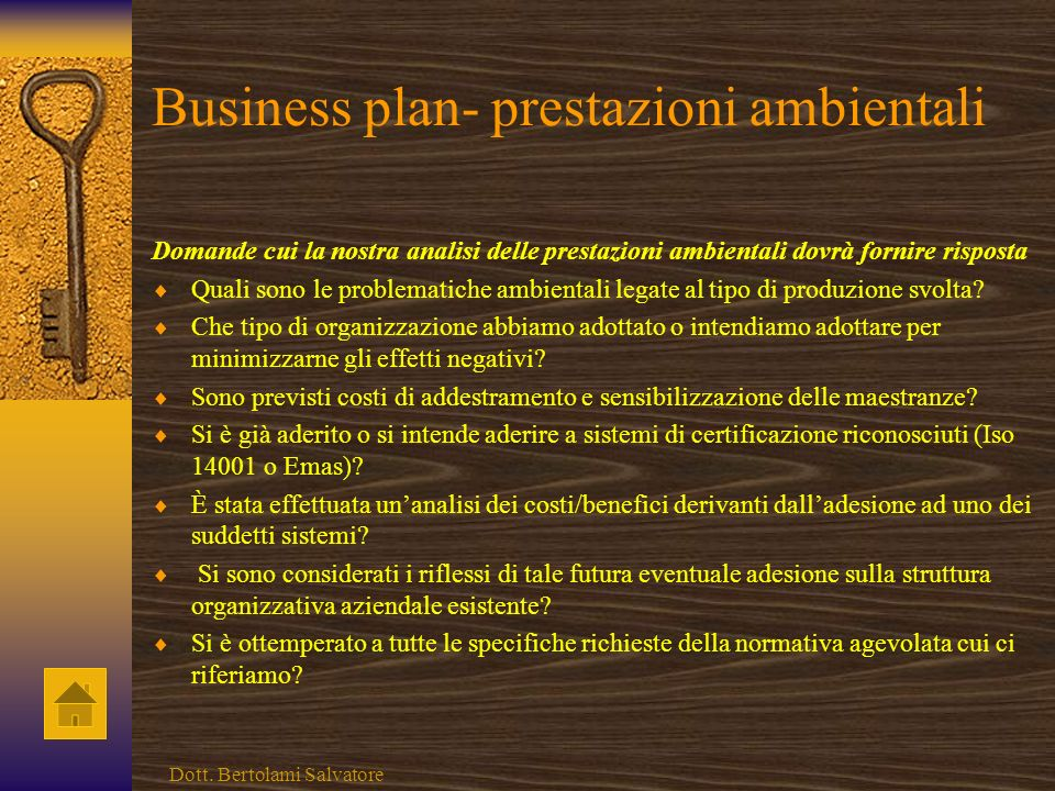Business plan- prestazioni ambientali