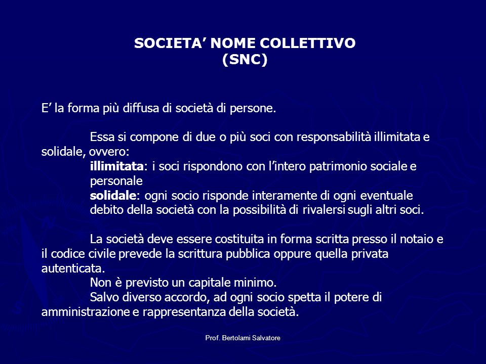SOCIETA' NOME COLLETTIVO