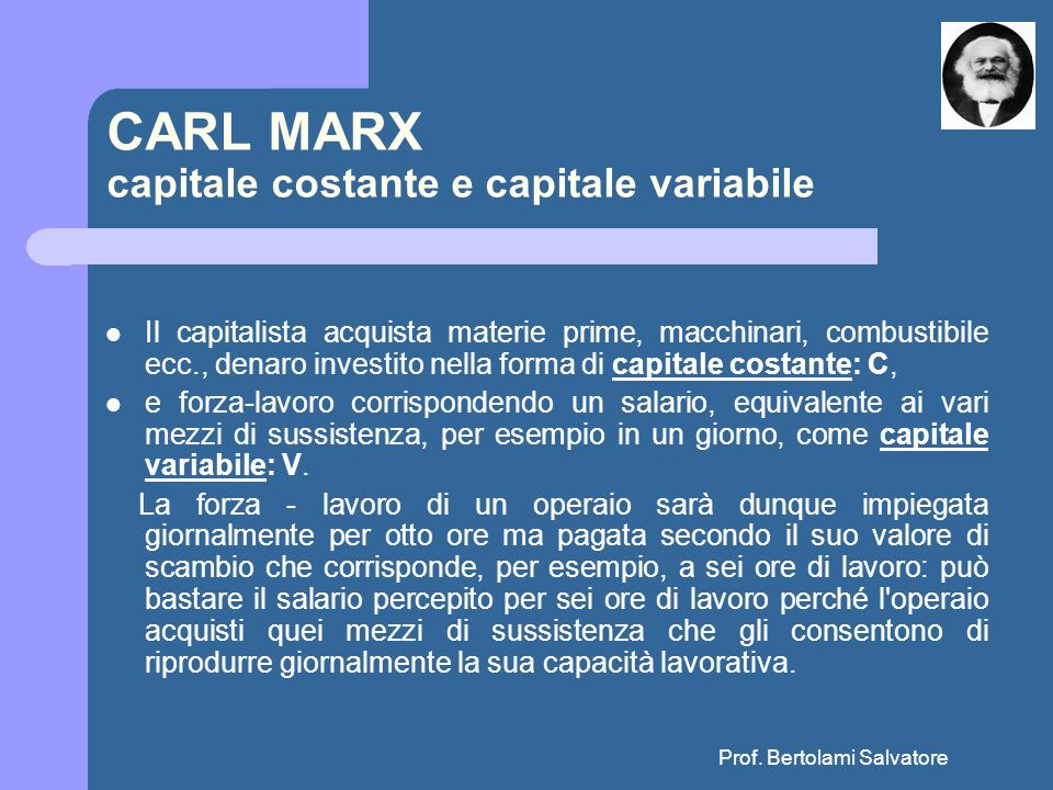 CARL MARX capitale costante e capitale variabile