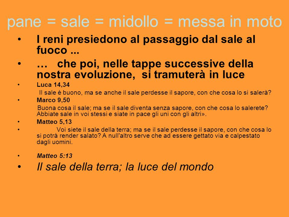 pane = sale = midollo = messa in moto
