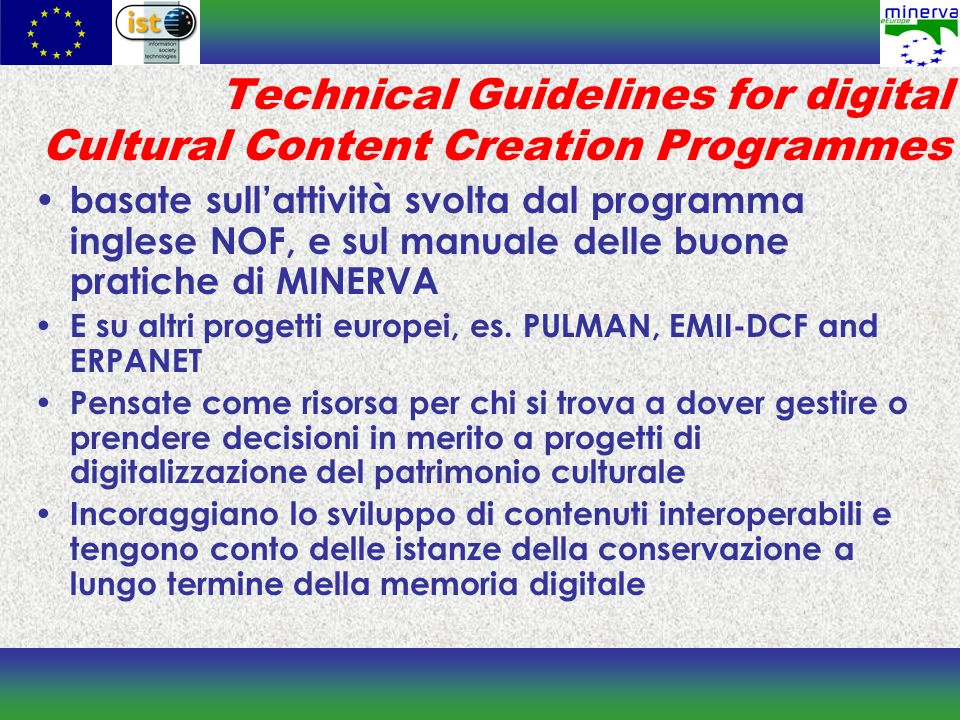 Technical Guidelines for digital Cultural Content Creation Programmes