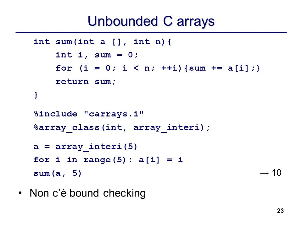 Unbounded C arrays Non c'è bound checking int sum(int a [], int n){
