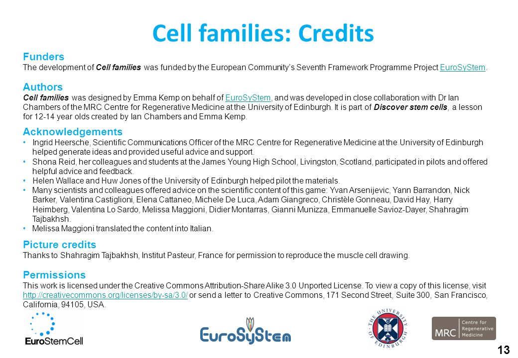 Cell families: Credits