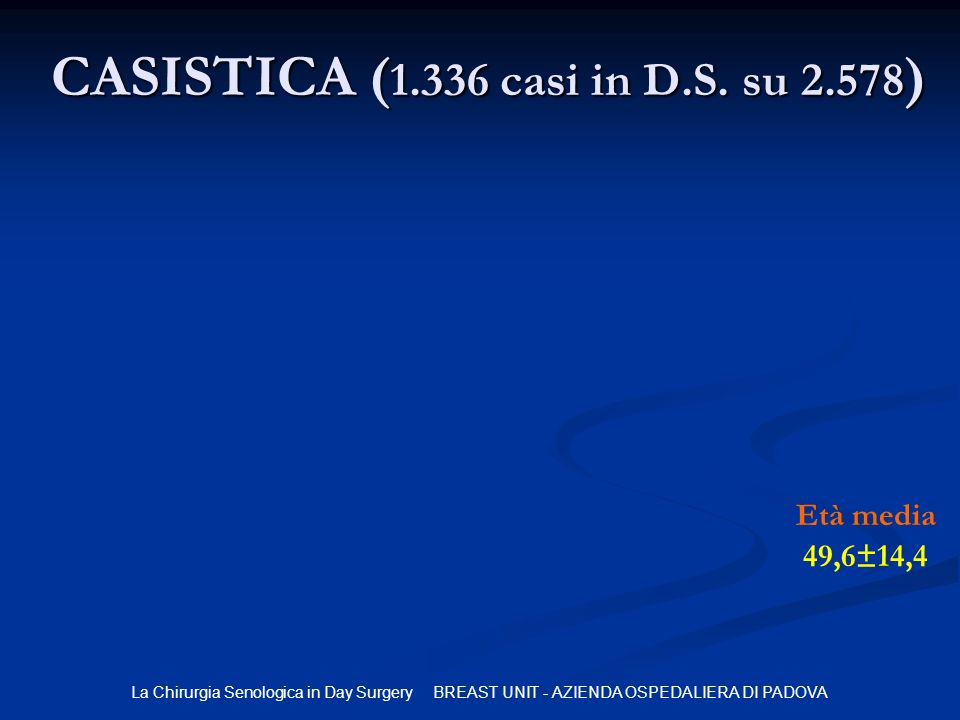 CASISTICA (1.336 casi in D.S. su 2.578)