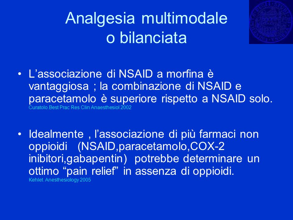 Analgesia multimodale o bilanciata