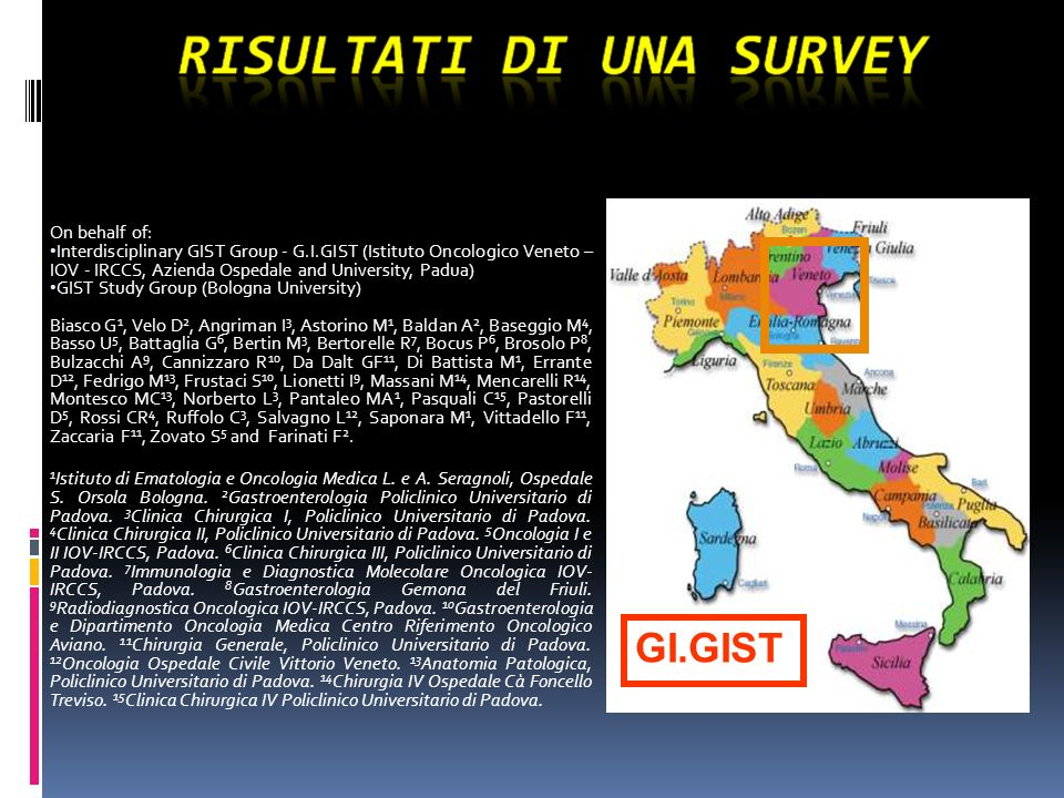 On behalf of: Interdisciplinary GIST Group - G.I.GIST (Istituto Oncologico Veneto – IOV - IRCCS, Azienda Ospedale and University, Padua)