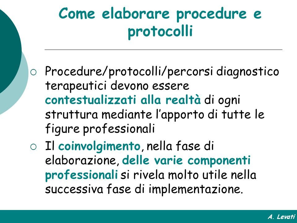 Come elaborare procedure e protocolli