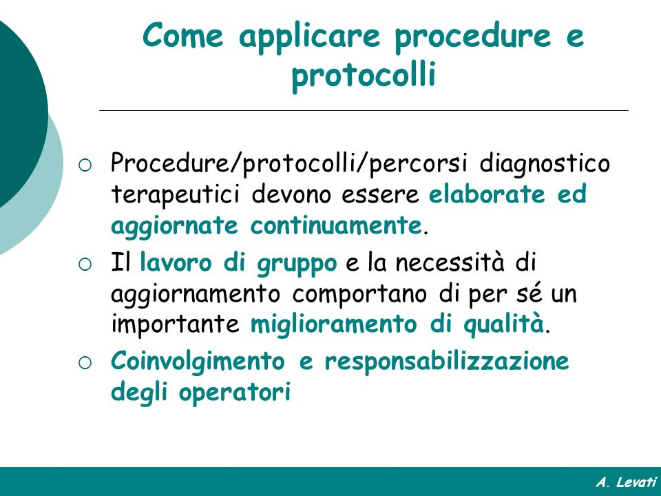 Come applicare procedure e protocolli
