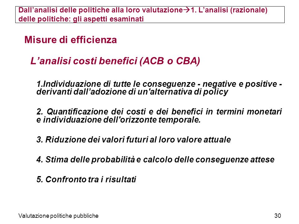L'analisi costi benefici (ACB o CBA)