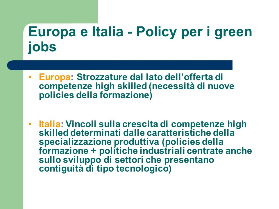 Europa e Italia - Policy per i green jobs