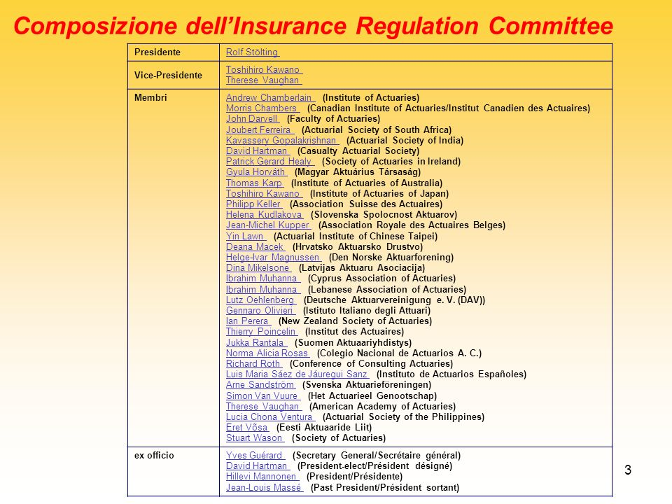 Composizione dell'Insurance Regulation Committee