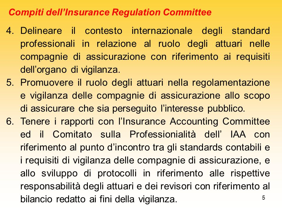 Compiti dell'Insurance Regulation Committee