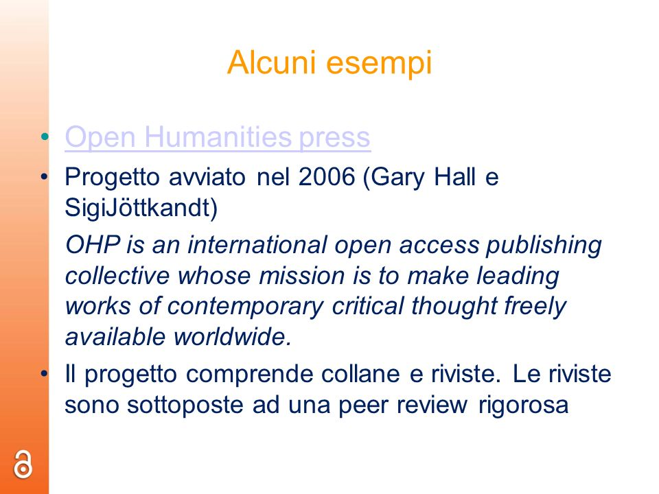 Alcuni esempi Open Humanities press