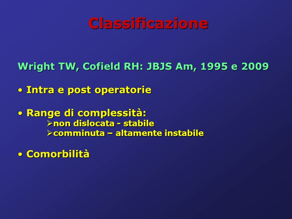 Classificazione Wright TW, Cofield RH: JBJS Am, 1995 e 2009