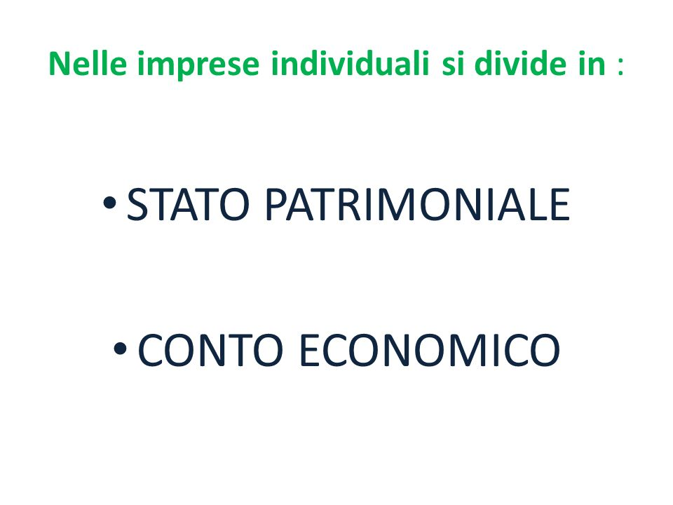 Nelle imprese individuali si divide in :