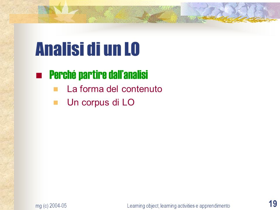 Learning object, learning activities e apprendimento
