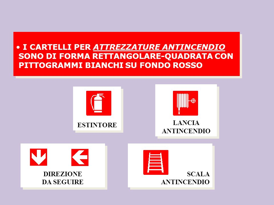 I CARTELLI PER ATTREZZATURE ANTINCENDIO