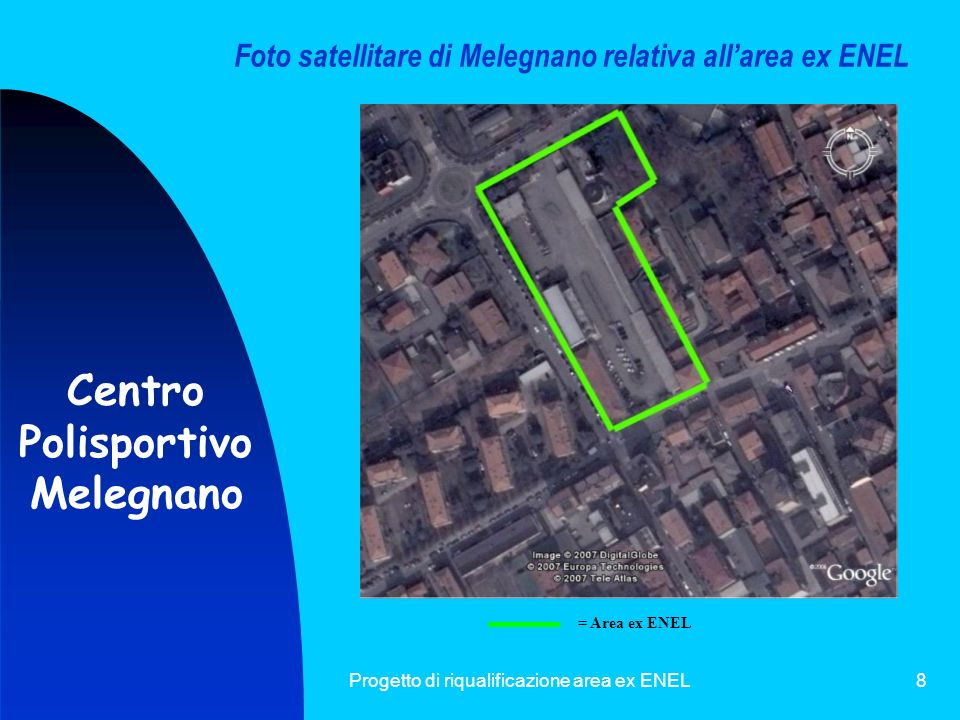 Foto satellitare di Melegnano relativa all'area ex ENEL