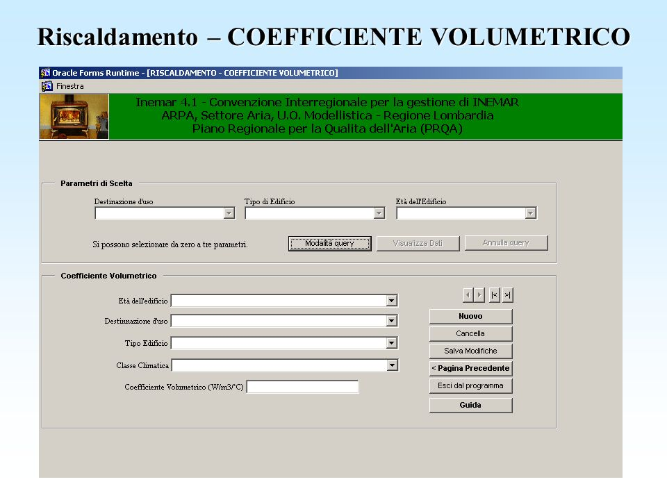Riscaldamento – COEFFICIENTE VOLUMETRICO