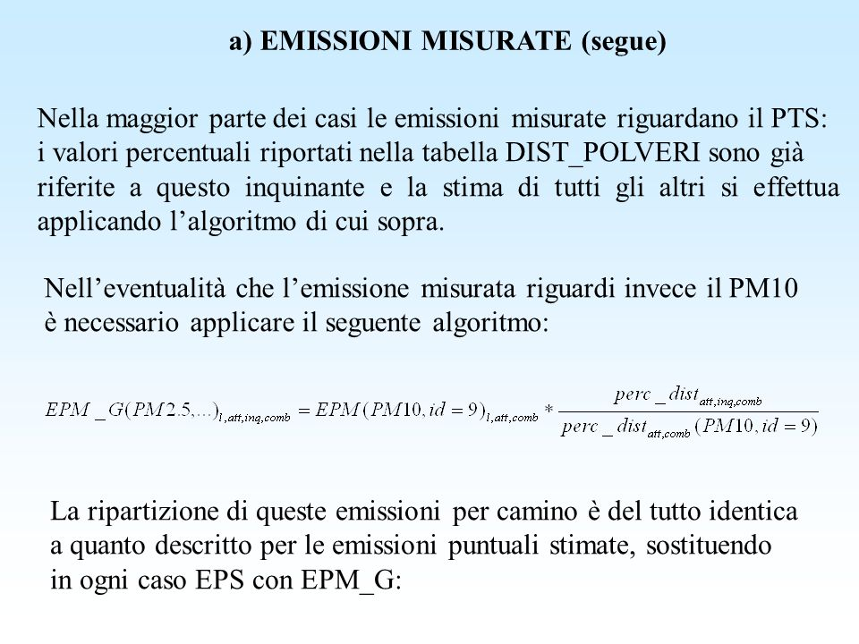 a) EMISSIONI MISURATE (segue)