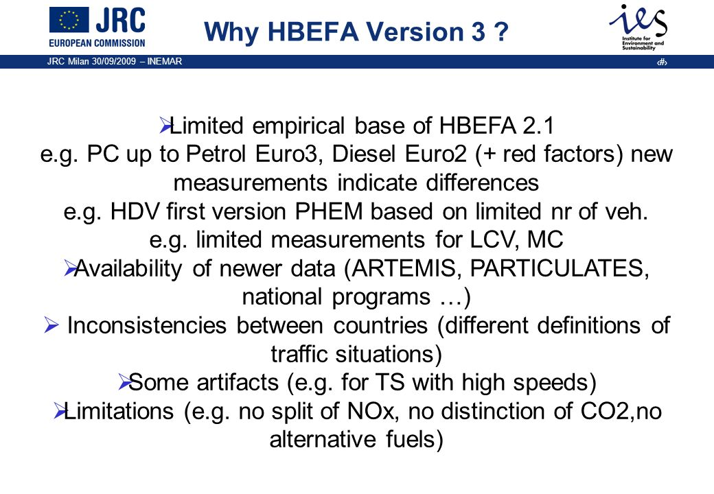 Why HBEFA Version 3 Limited empirical base of HBEFA 2.1