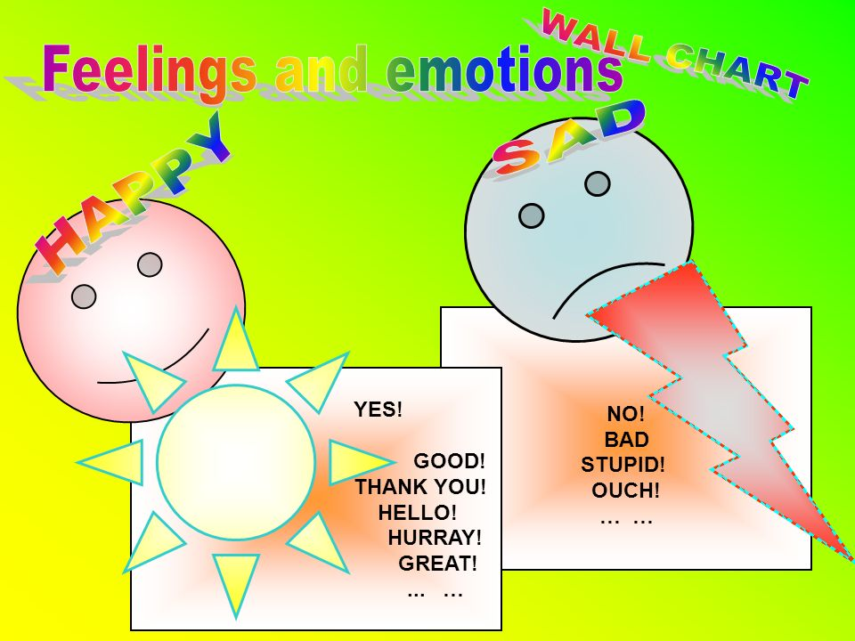 WALL CHART Feelings and emotions SAD HAPPY