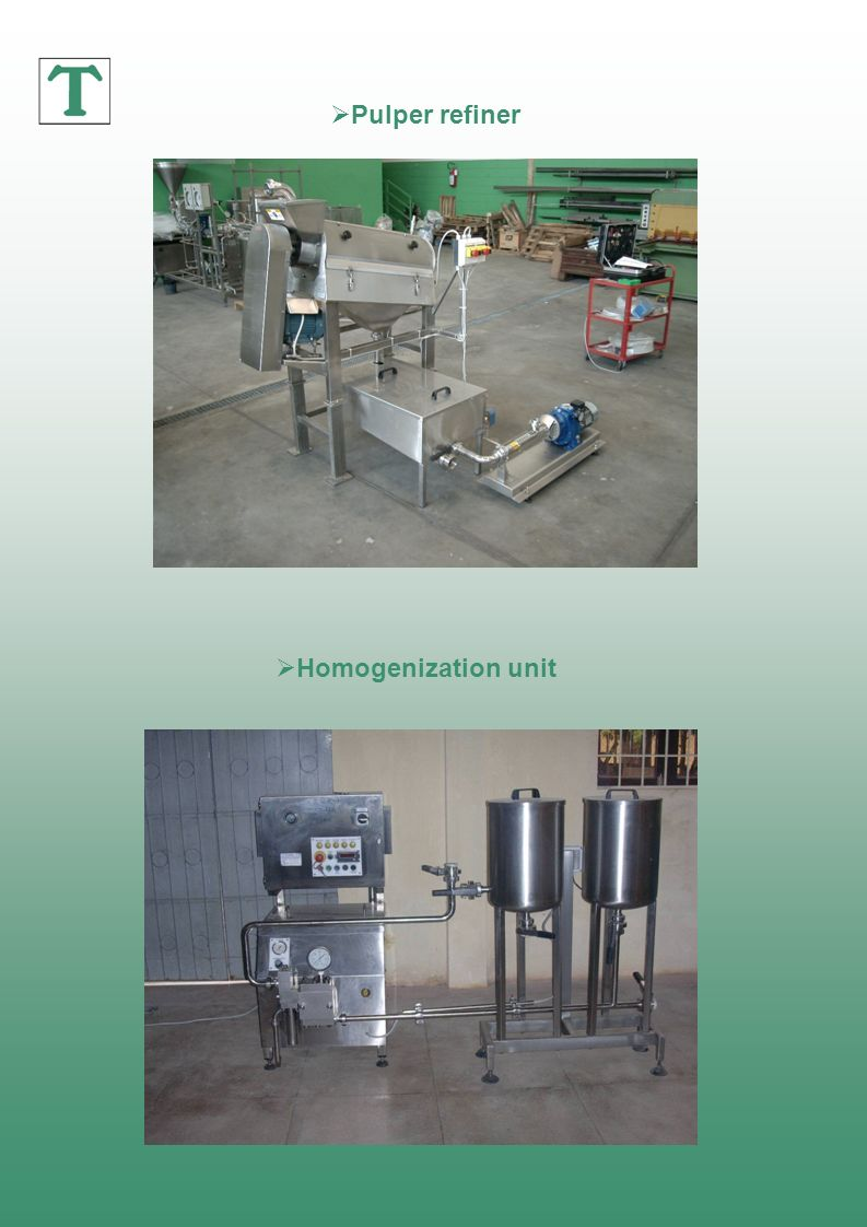 Pulper refiner Homogenization unit