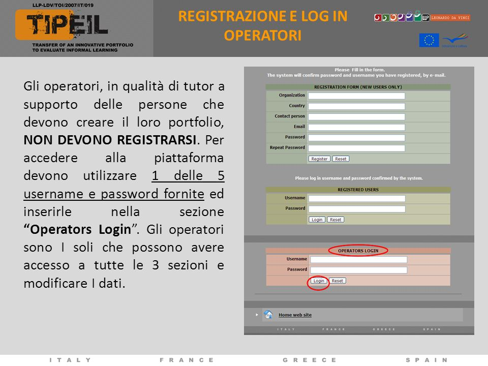 REGISTRAZIONE E LOG IN OPERATORI