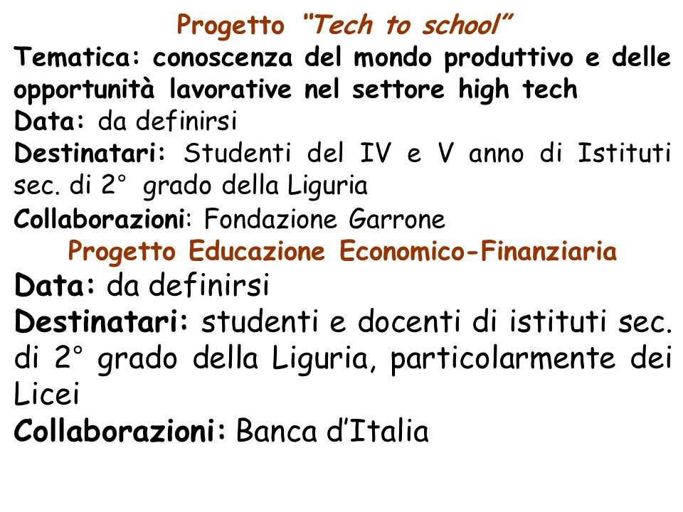 Progetto Tech to school