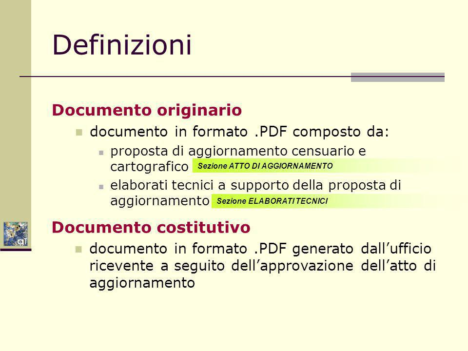 Definizioni Documento originario Documento costitutivo