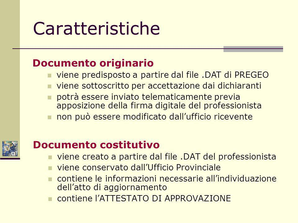 Caratteristiche Documento originario Documento costitutivo