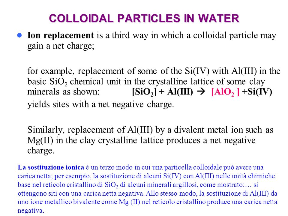 COLLOIDAL PARTICLES IN WATER
