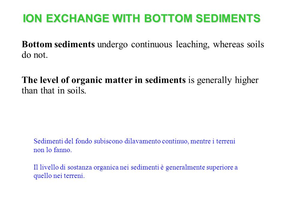 ION EXCHANGE WITH BOTTOM SEDIMENTS