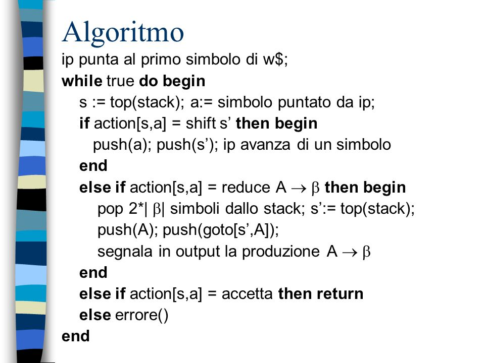 Algoritmo ip punta al primo simbolo di w$; while true do begin