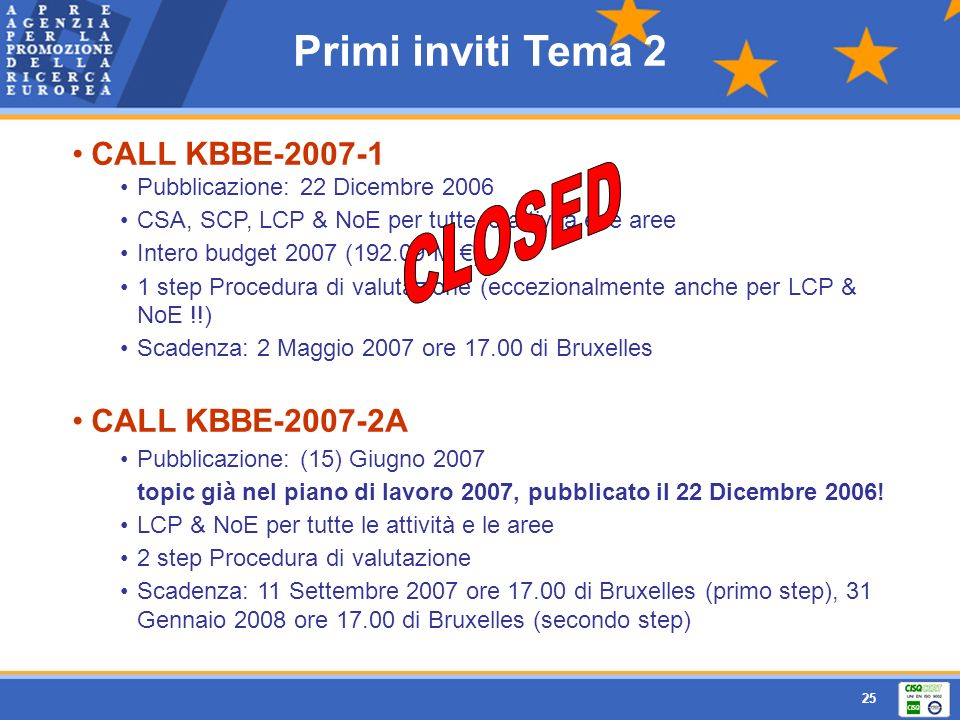 CLOSED Primi inviti Tema 2 CALL KBBE-2007-1 CALL KBBE-2007-2A