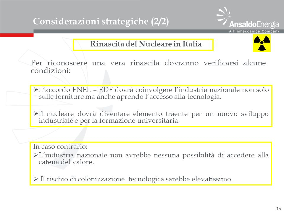 Considerazioni strategiche (2/2)