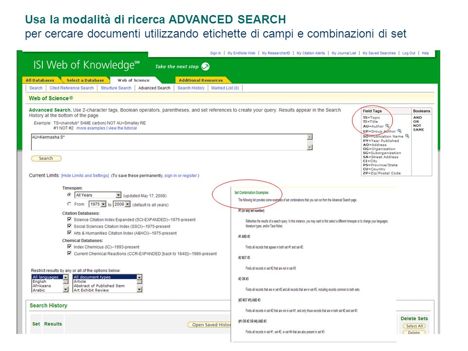 Usa la modalità di ricerca ADVANCED SEARCH