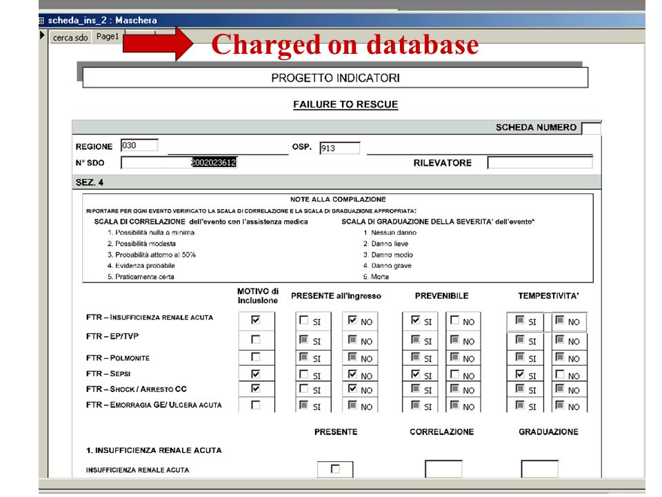 Charged on database In this slide you can see a part of the form that includes all the information subsequently.