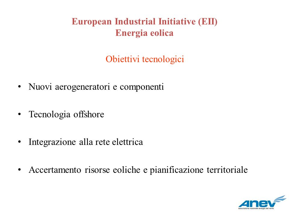 European Industrial Initiative (EII) Energia eolica