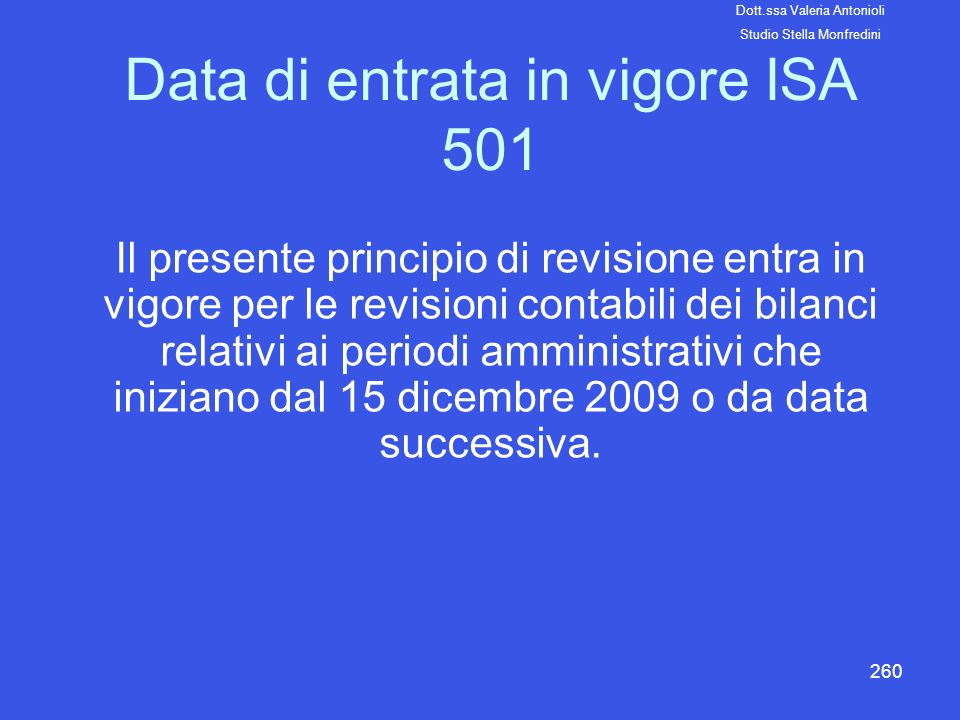 Data di entrata in vigore ISA 501
