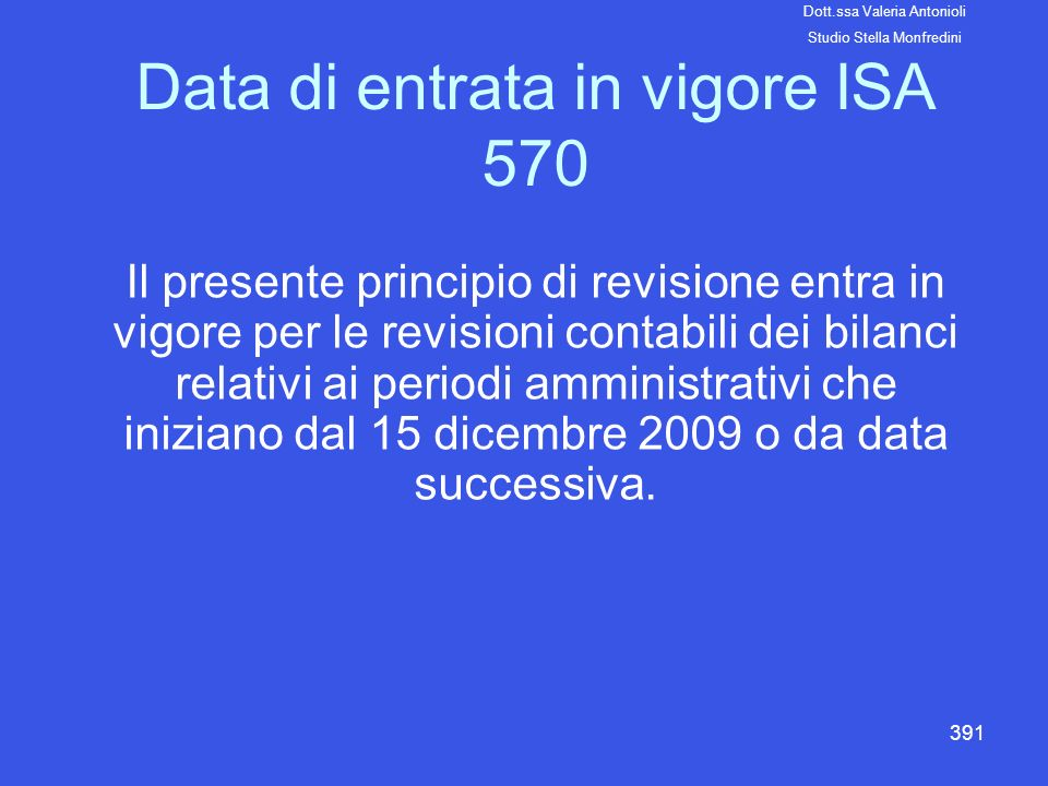 Data di entrata in vigore ISA 570