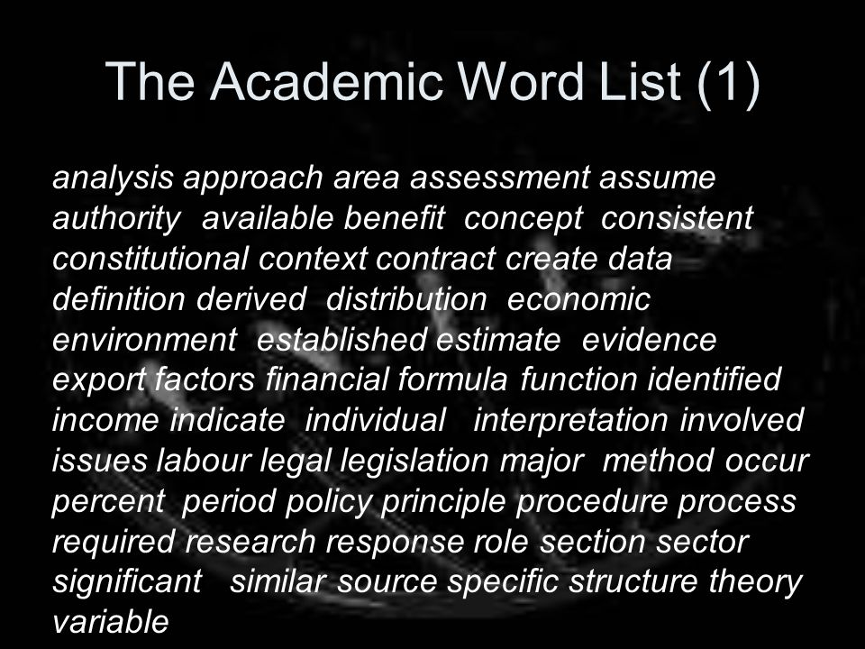 The Academic Word List (1)