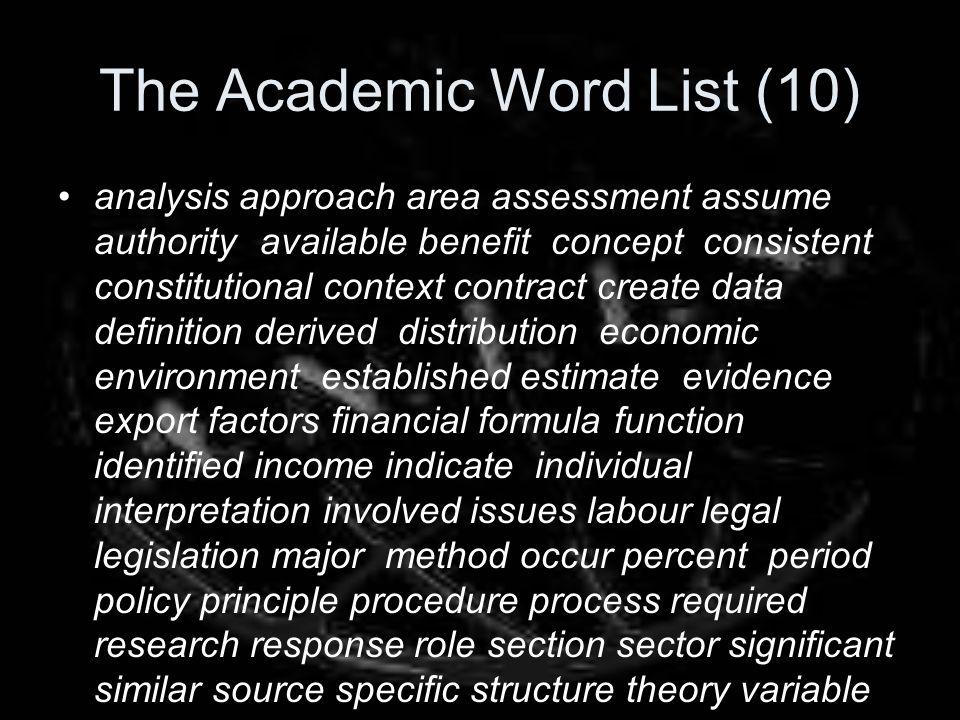 The Academic Word List (10)