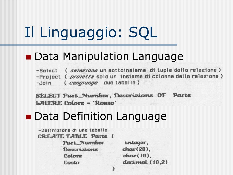 Il Linguaggio: SQL Data Manipulation Language Data Definition Language