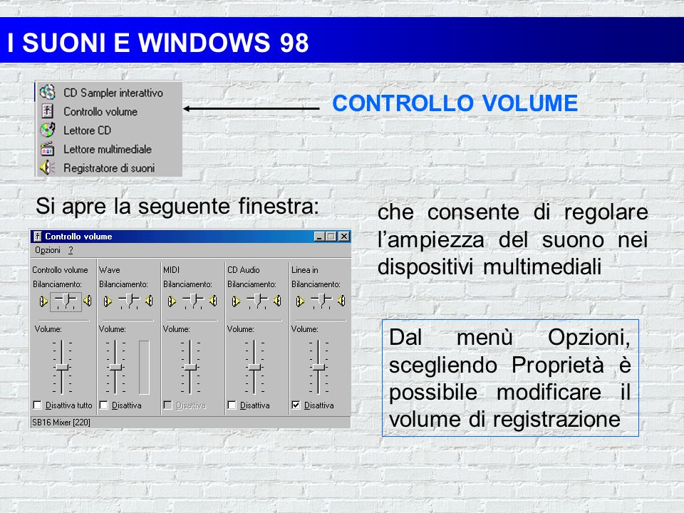 I SUONI E WINDOWS 98 CONTROLLO VOLUME Si apre la seguente finestra: