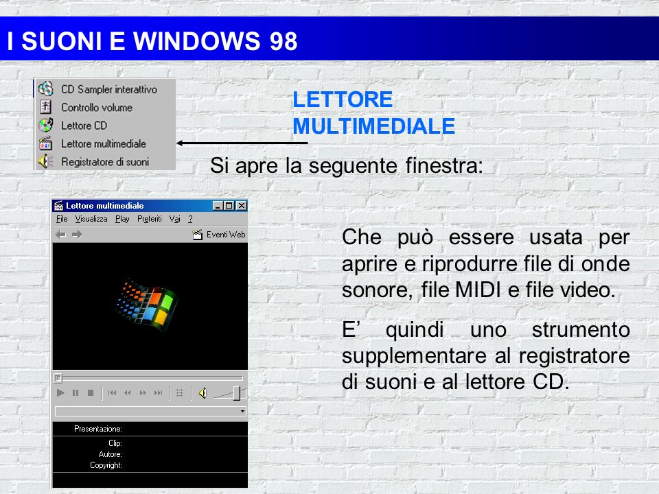 I SUONI E WINDOWS 98 LETTORE MULTIMEDIALE