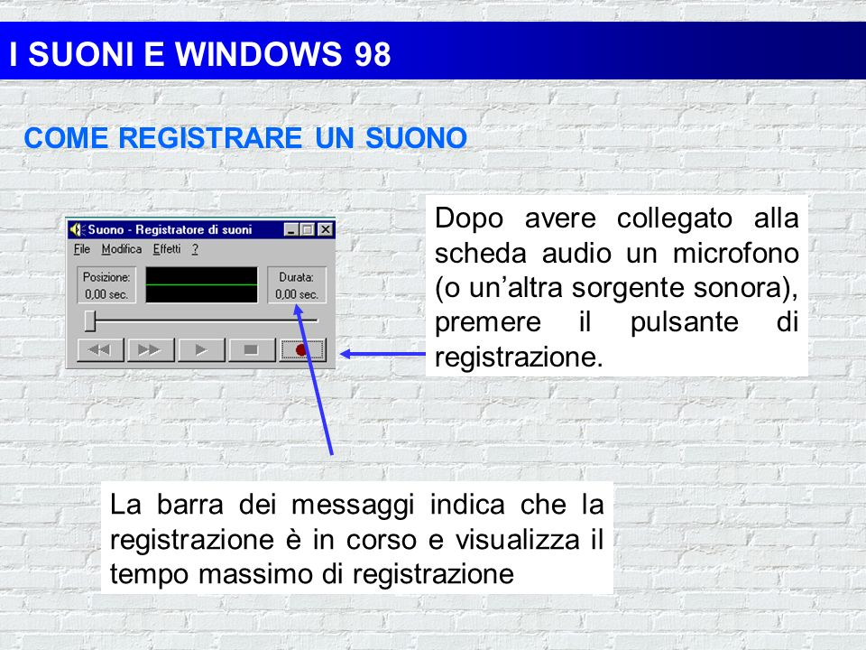 I SUONI E WINDOWS 98 COME REGISTRARE UN SUONO